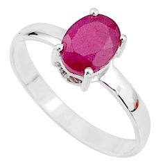 2.35cts natural red ruby 925 sterling silver solitaire ring size 7.5 t7299