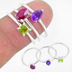 2.89cts natural red ruby amethyst 925 sterling silver 3 rings size 6.5 r93079