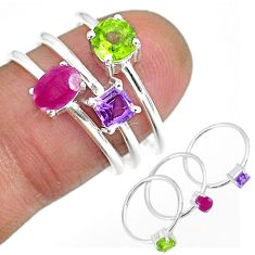 3.17cts natural red ruby amethyst 925 sterling silver 3 rings size 7 r92463