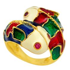 Natural red ruby amethyst enamel 925 silver gold fish thai ring size 6 c21072