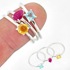 3.14cts natural red ruby citrine blue topaz 925 silver 3 rings size 8 r85166