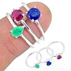 2.81cts natural red ruby emerald 925 silver 3 rings jewelry size 6 r92387