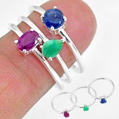 2.93cts natural red ruby emerald 925 sterling silver 3 rings size 9 r92403