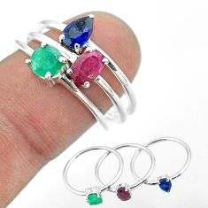 2.82cts natural red ruby emerald sapphire 925 silver 3 rings size 8 t50982