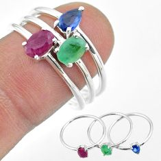 2.71cts natural red ruby emerald sapphire 925 silver 3 rings size 8 t50985