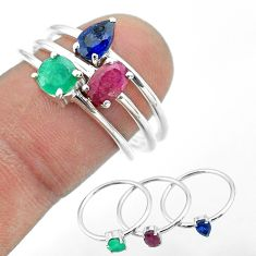 2.81cts natural red ruby emerald sapphire 925 silver 3 rings size 8 t50998