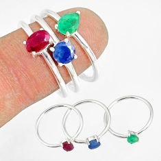 2.97cts natural red ruby emerald sapphire 925 silver 3 rings size 9 t17553