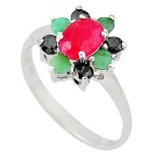 Natural red ruby emerald sapphire 925 sterling silver ring jewelry size 9 c17726