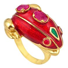 Natural red ruby enamel 925 silver 14k gold frog thai ring size 8 c21114