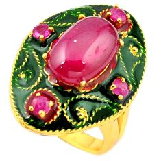 Natural red ruby enamel 925 sterling silver 14k gold thai ring size 7 c22013