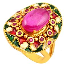 Natural red ruby enamel 925 sterling silver 14k gold thai ring size 7 c22014