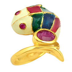 Natural red ruby enamel 925 sterling silver gold fish thai ring size 6 c21116