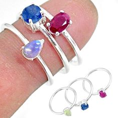 3.17cts natural red ruby ethiopian opal 925 silver 3 rings size 6.5 r92380