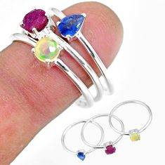 3.28cts natural red ruby ethiopian opal 925 silver 3 rings size 8.5 r92420
