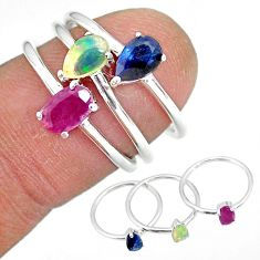 2.81cts natural red ruby ethiopian opal 925 silver 3 rings size 6 r92398