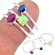 3.25cts natural red ruby ethiopian opal 925 silver 3 rings size 8 r92415