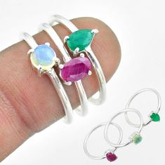 3.13cts natural red ruby ethiopian opal emerald silver 3 rings size 6.5 t50930