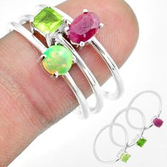 3.13cts natural red ruby ethiopian opal peridot 925 silver 3 rings size 9 t51101