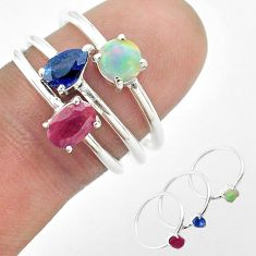 2.98cts natural red ruby ethiopian opal sapphire silver 3 rings size 6.5 t50933