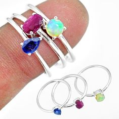 3.13cts natural red ruby ethiopian opal sterling silver 3 rings size 8 r92436