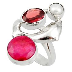 7.85cts natural red ruby garnet 925 sterling silver dolphin ring size 7 d46113