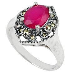 Natural red ruby marcasite 925 sterling silver ring jewelry size 8.5 c17368