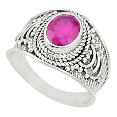 1.99cts natural red ruby oval 925 sterling silver solitaire ring size 8 r69150