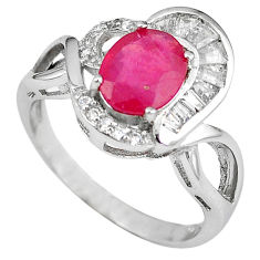 Natural red ruby oval topaz 925 sterling silver ring jewelry size 7 c17800