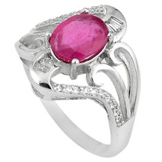 Natural red ruby oval topaz 925 sterling silver ring jewelry size 9 c17764