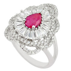 Natural red ruby pear topaz 925 sterling silver ring jewelry size 6.5 c17779