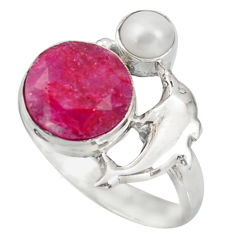 6.31cts natural red ruby pearl 925 sterling silver dolphin ring size 8.5 d46147