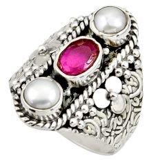 3.52cts natural red ruby pearl 925 sterling silver ring jewelry size 7.5 r42723