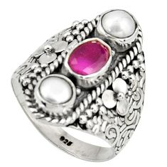 3.91cts natural red ruby pearl 925 sterling silver ring jewelry size 8 r38005