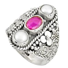 4.07cts natural red ruby pearl 925 sterling silver ring jewelry size 9 r38006