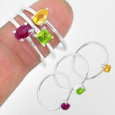2.91cts natural red ruby peridot 925 sterling silver 3 rings size 8 r93142