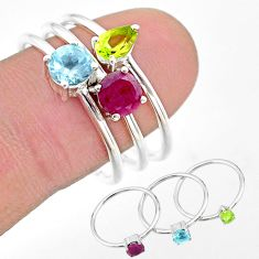 3.13cts natural red ruby peridot topaz 925 silver 3 rings jewelry size 9 t17636
