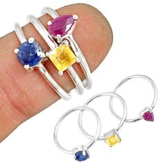 2.95cts natural red ruby sapphire 925 silver stackable ring size 5.5 r79964