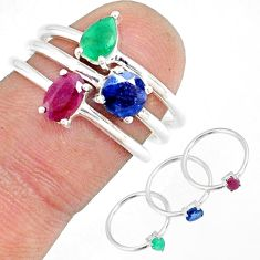 2.97cts natural red ruby sapphire 925 sterling silver 3 rings size 7 r79836