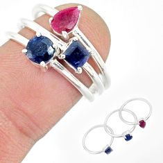 3.13cts natural red ruby sapphire 925 sterling silver 3 rings size 7 r85177