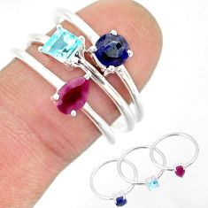 3.14cts natural red ruby sapphire blue topaz 925 silver 3 rings size 7 r85173