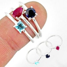 3.42cts natural red ruby sapphire blue topaz 925 silver 3 rings size 8 r85174