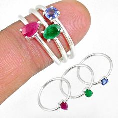 2.13cts natural red ruby sapphire emerald silver stackable ring size 6.5 r59882