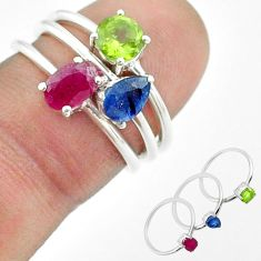 2.97cts natural red ruby sapphire peridot 925 silver 3 rings size 6 t50901