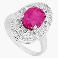 4.46cts natural red ruby topaz 925 silver solitaire ring jewelry size 5.5 c17693