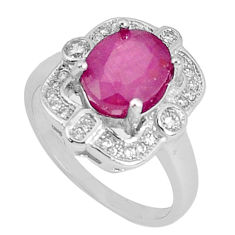 4.52cts natural red ruby topaz 925 silver solitaire ring jewelry size 7.5 c17851