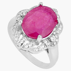 5.52cts natural red ruby topaz 925 silver solitaire ring jewelry size 6.5 c17711