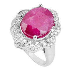 6.83cts natural red ruby topaz 925 silver solitaire ring jewelry size 5.5 c17706