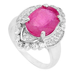 6.26cts natural red ruby topaz 925 silver solitaire ring jewelry size 7 c17750