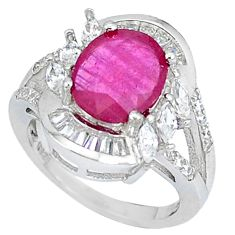 Natural red ruby topaz 925 sterling silver ring jewelry size 5.5 c17713