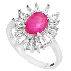 Natural red ruby topaz 925 sterling silver ring jewelry size 7.5 c17687